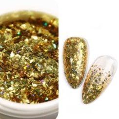 Laser nail art star fragment gold