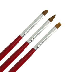 Lot de 3 pinceaux pour gel UV - résine - nail art