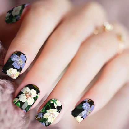 Nail warp fleurs exotiques
