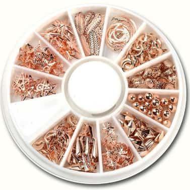 roue de bijou rose gold nail art