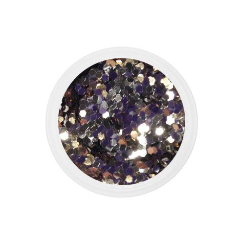 Chuncky glitter dots mix bling bling nail art manucure ongles gel UV french-doré_champagne
