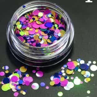 Confetti bleu rose et jaune fluo