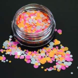 Confetti blanc orange et rose fluo