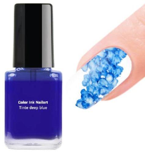 encre nail art bleu