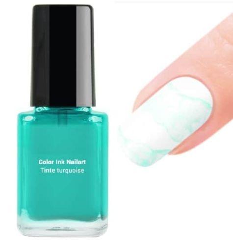 encre turquoise de décoration des ongles