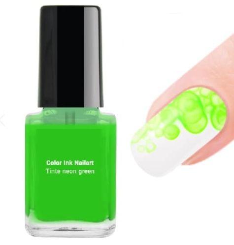 nail art  encre ink vert fluo