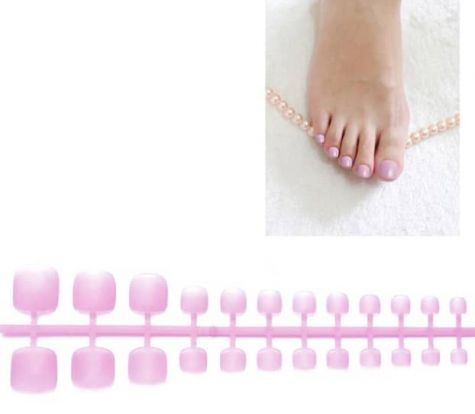 faux ongles rose doux pour orteils