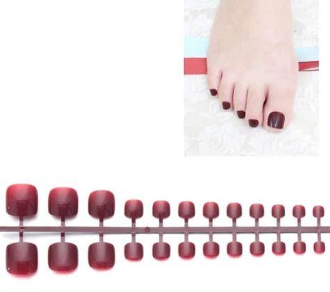 Faux ongles orteils rouge noir