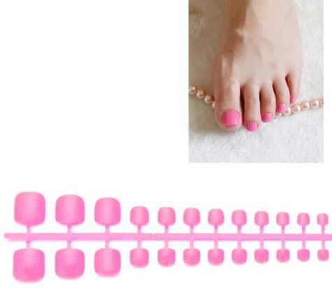 faux ongles Fuchsia pieds