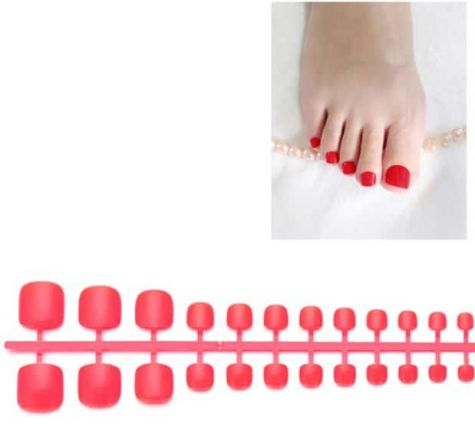 faux ongles orteils rouges