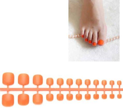 faux ongles orange pour orteils