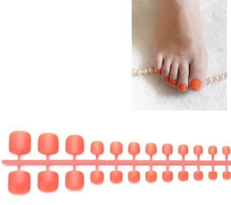 Ffaux ongles fluo coral pour les orteils
