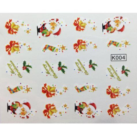 Water sticker theme NOËL nail art décals-K004
