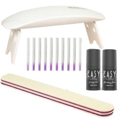 Kit vernis UV/LED semi-permanents - Twincoat - Blanc - Rosé avec lampe UV 36 Watts