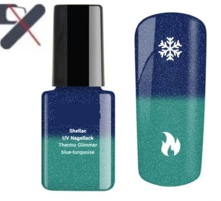 shellac à paillette thermo bleu turquoie
