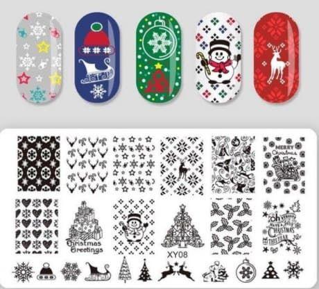Stamping nail art noel