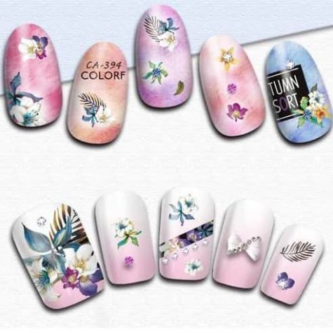 ongle sticker fleurs exotique