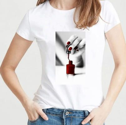 t-shirt flacon de vernis à ongles rouge