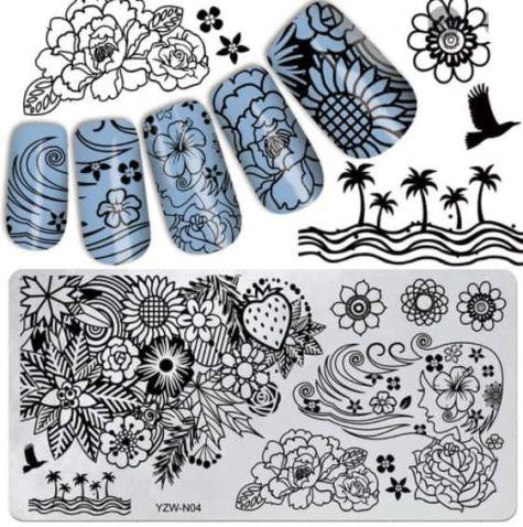 Plaque Stamping dentelles et motif japonnais